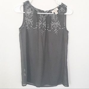 Ann Taylor Loft Sleeveless Grey Floral Zipper Dots